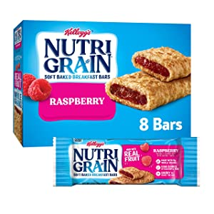 Kellogg's Nutri-Grain, Soft Baked Breakfast Bars, Raspberry, Made with Whole Grain, 10.4 oz (8 Count)