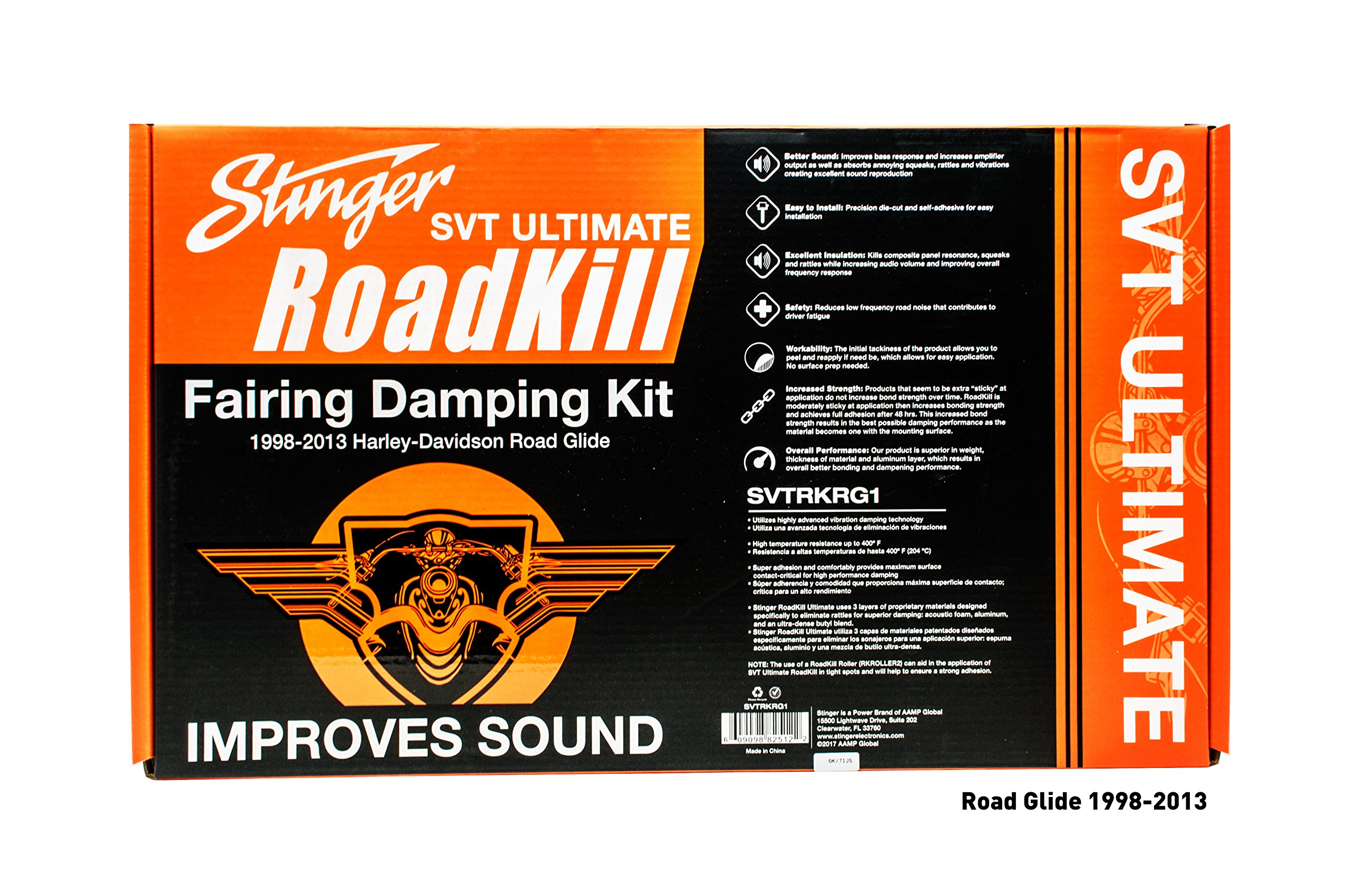 Stinger SVTRKRG1 - Harley Davidson Sound Damping Kit - Pre-Cut Sheets for Perfect Fitment. Fits 1998-2013 Road Glide