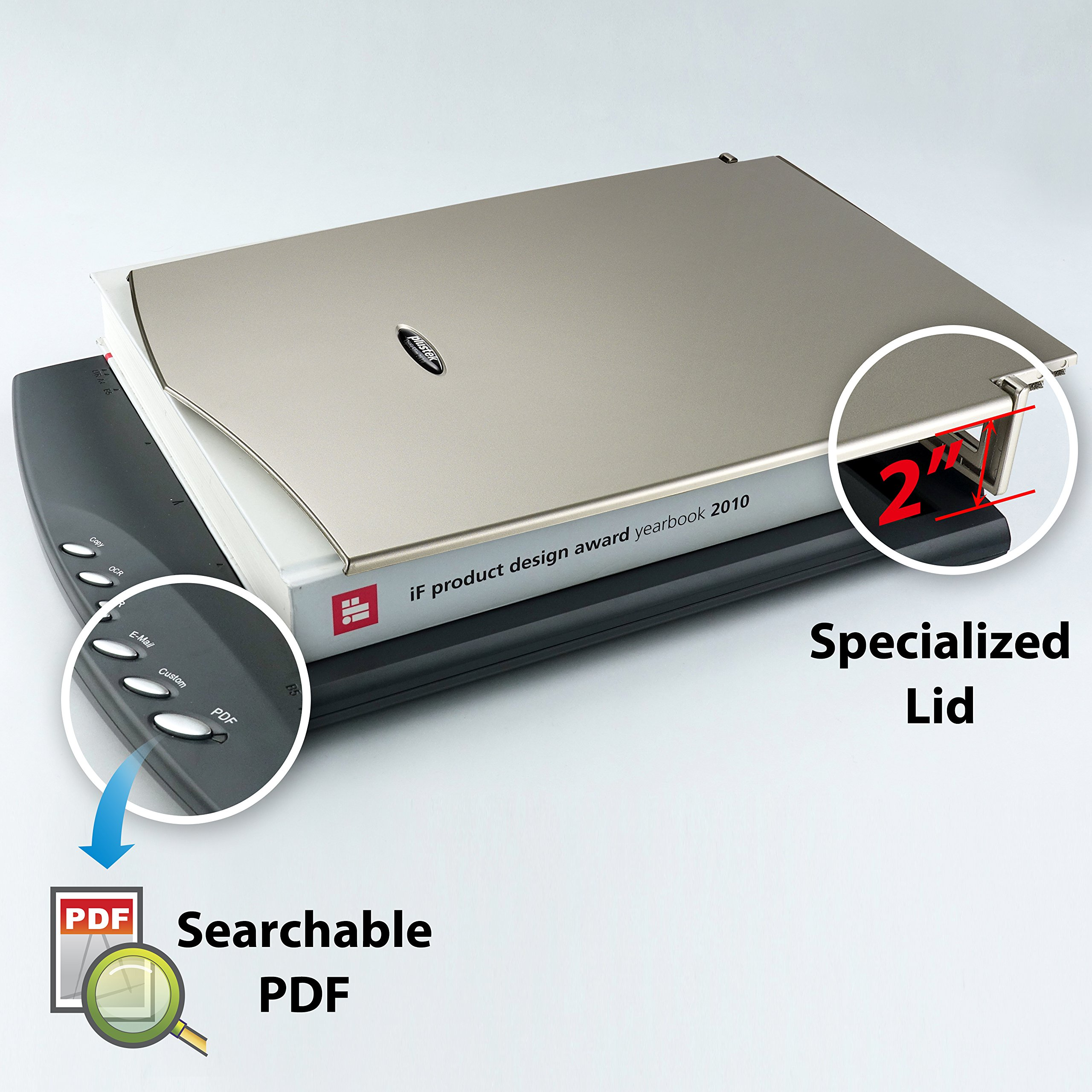 Plustek OpticSlim 2610 Color Image Scanner, Special Design for Thick Book. Design Soho and Personal use. for PC only