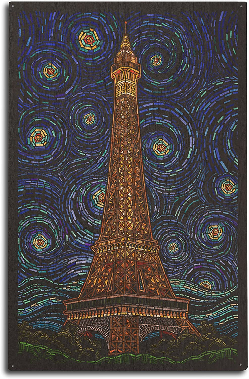 Lantern Press Paris, France - Eiffel Tower Mosaic (10x15 Wood Wall Sign, Wall Decor Ready to Hang)