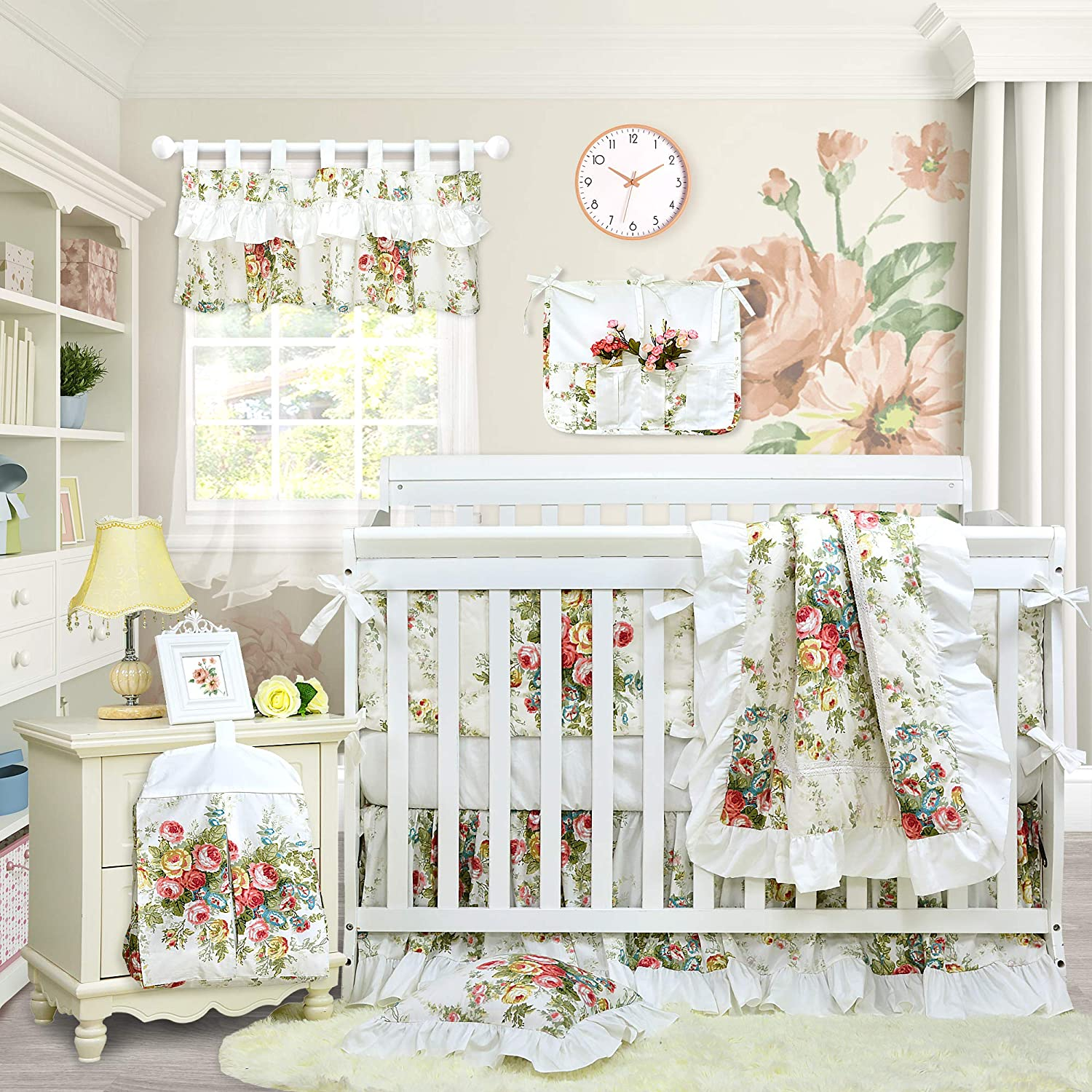 Floral Antique Flower Baby Girl Bedding Crib Set with White Ruffles