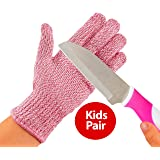 TruChef Kid Sized Cut Resistant Gloves for Meal Prep and Crafts Maximum EN388 Level 5 Protection From Knives, Scissors, Vegetable Peelers, Pink, Small