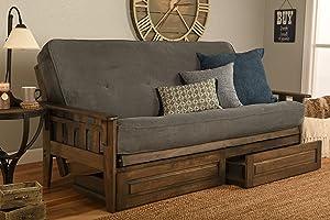 Kodiak Furniture Tucson Full Size Futon Set In Rustic Walnut Finish With Storage Drawers, Marmont Thunder