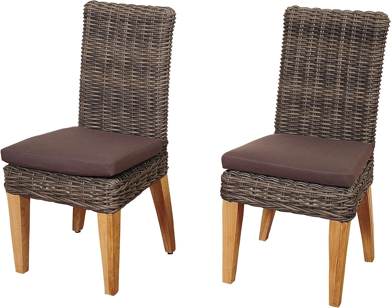 Amazonia Ashland 2 Piece Teak/Wicker Chair Set with Brown Cushions