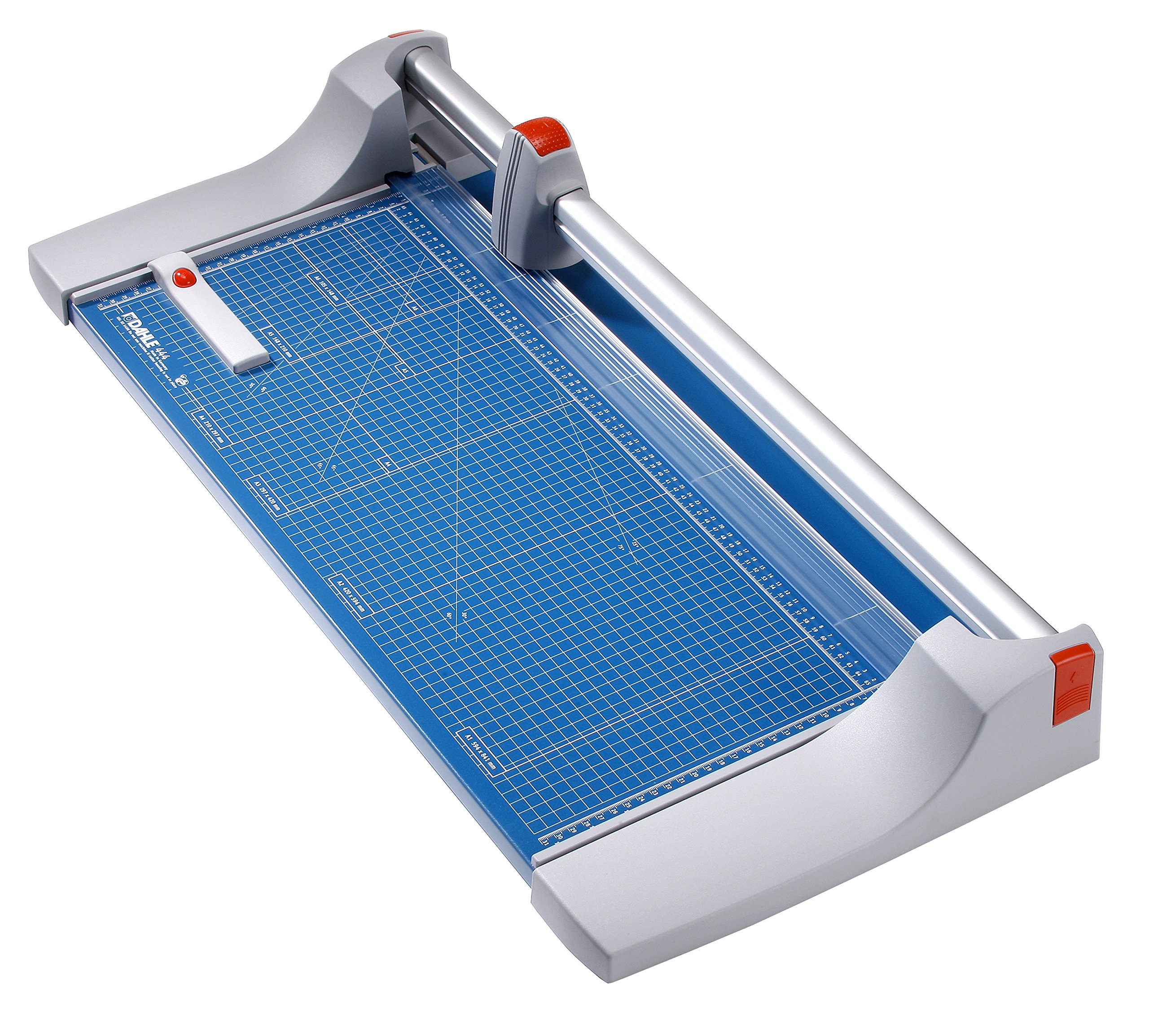 Dahle 444 Premium Rolling Trimmer, 26 3/8'' Cut Length, 25 Sheet, Self Sharpening Blade, Cuts in Either Direction, Automatic Paper Clamp Metal Base, Paper Cutter