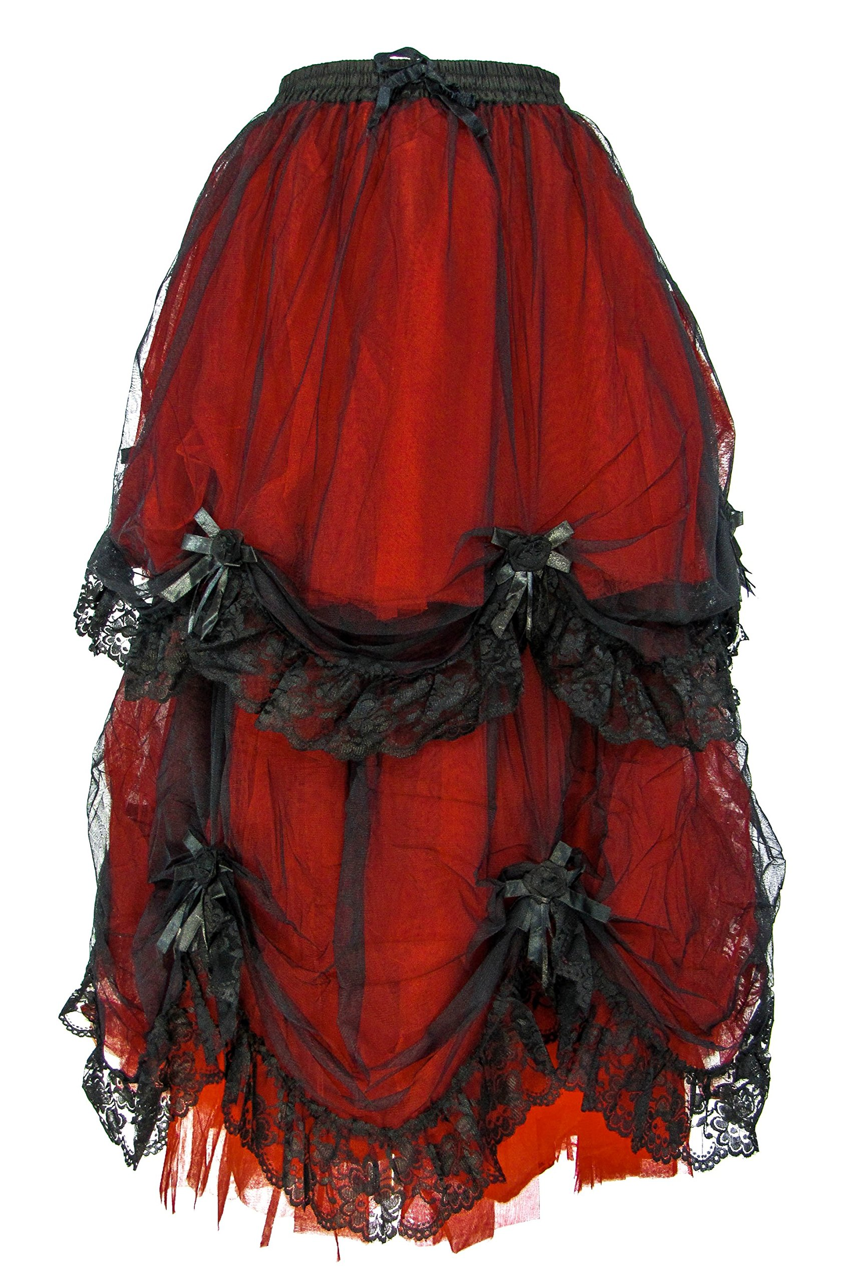 Dark Star Plus Size Long Black Red Satin Roses Gothic Medieval Fairytale Skirt M-2X