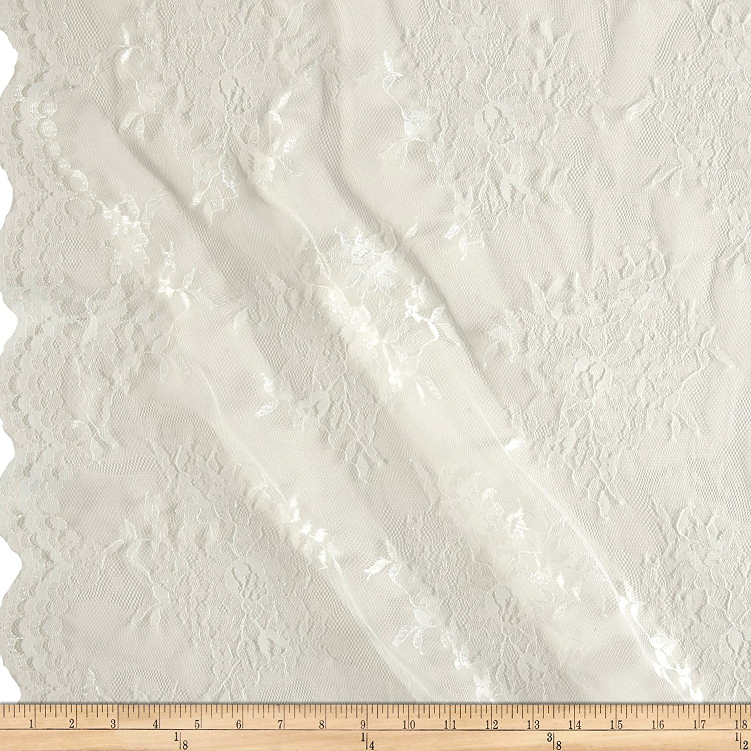 Amazon.com: Ben Textiles Chantilly Lace Double Border Ivory Fabric by The  Yard