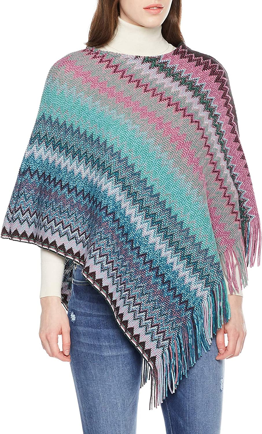 Spicy Sandia Women Turtleneck Poncho Sweater Cape Knit Pullover Solid Sweaters/…