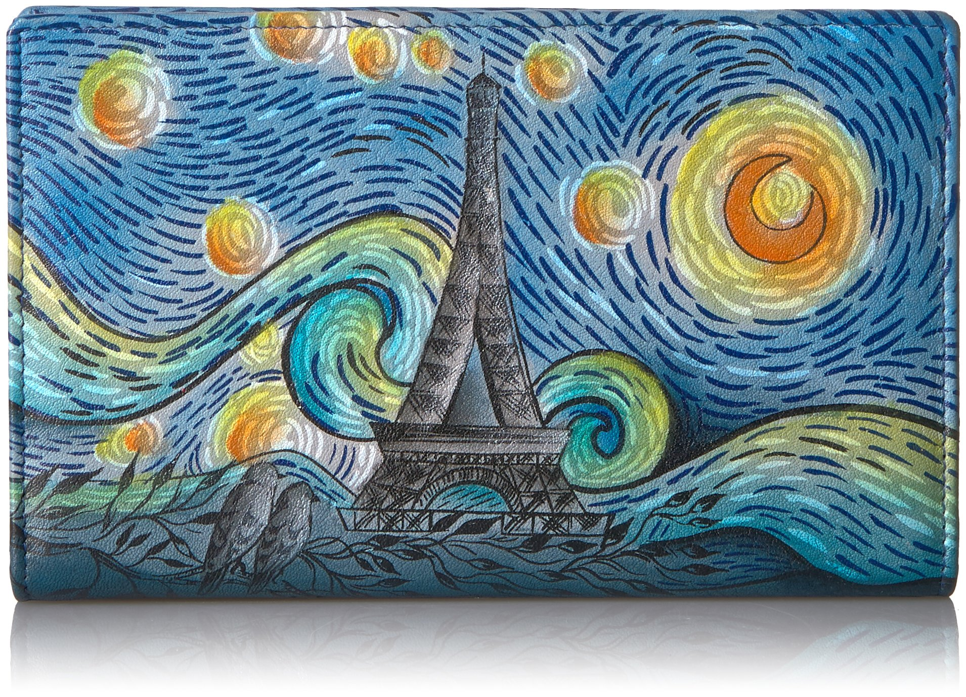 Anna By Anuschka Women's Handpainted Leather Two Fold Wallet, Lip-Love in Paris, One Size