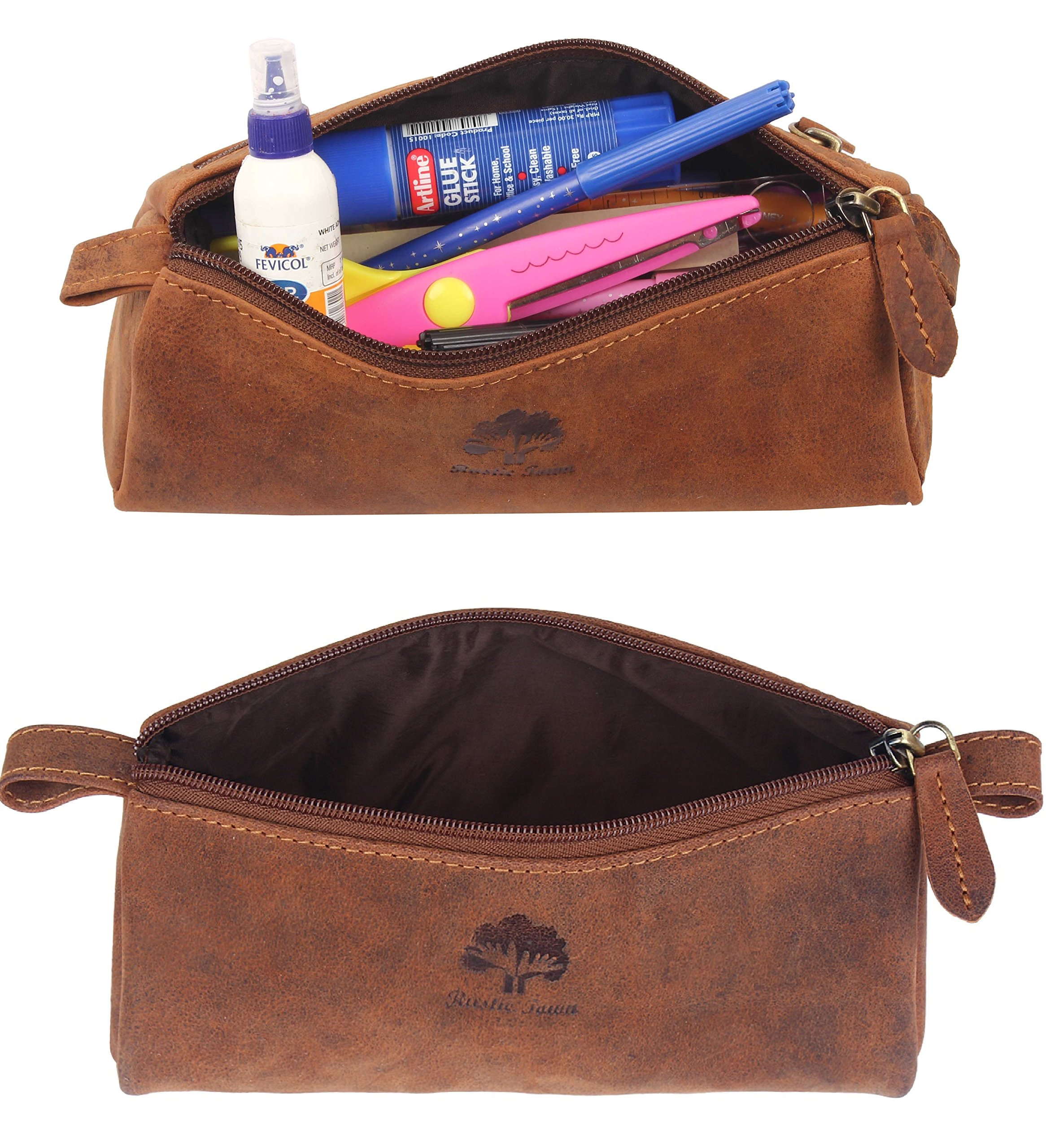 Leather Pencil Case - Zippered Pen Pouch for School, Work & Office by Rustic Town by RusticTown (Image #5)