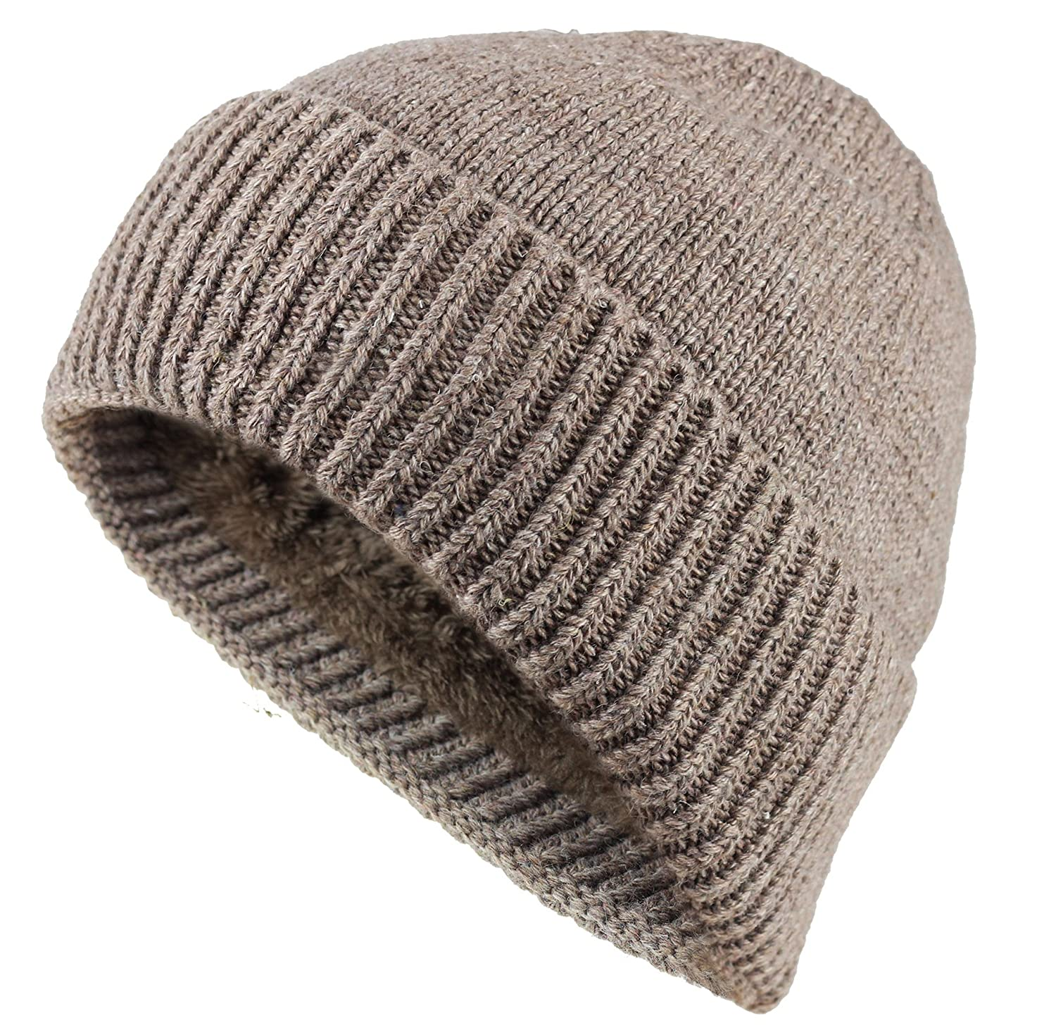 47011a7f658bdd JAKY Global Unisex Thick Cable Knit Beanie Hat Winter Cap Skull Wool Fleece  Lining Windproof for Men & Women - Khaki -: Amazon.co.uk: Clothing