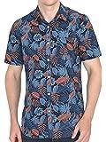 Tusok Men Short Sleeve Shirt Casual Hawaiian Flower Floral Party Beach Vacation Aloha Printed Blue Grey Blackish Leaf