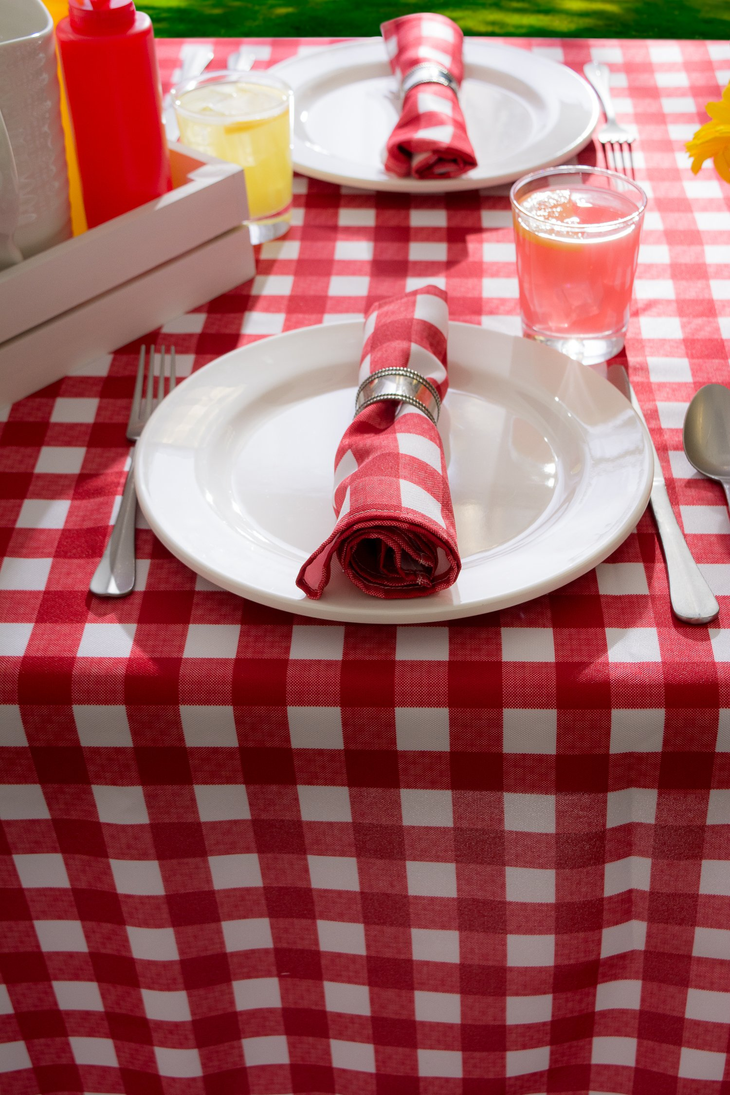 DII Spring & Summer Outdoor Tablecloth, Spill Proof and Waterproof with Zipper and Umbrella Hole, Host Backyard Parties, BBQs, & Family Gatherings - (60x120'' - Seats 10 to 12) Red Check by DII (Image #9)