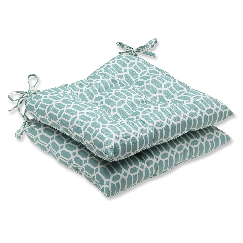 Pillow Perfect Outdoor Rhodes Quartz Wrought Iron Seat Cushion, Set of 2