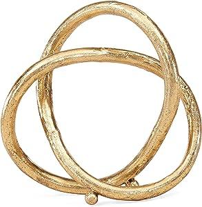 Danya B. Gold Eternal Loop Metal Sculpture, Wedding, for Home or Office Decor, Unique Accent Piece