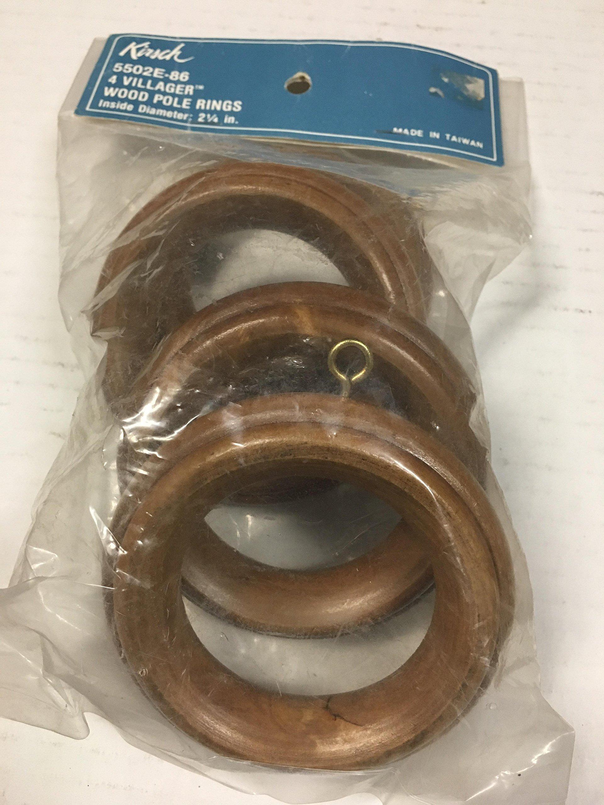 Kirsch 5502E-86, 4 villager wood pole rings diameter 2 1/4''