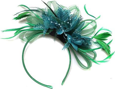 Nude Salmon and Green Feather Hair Fascinator Headband Wedding Royal Ascot Races Ladies