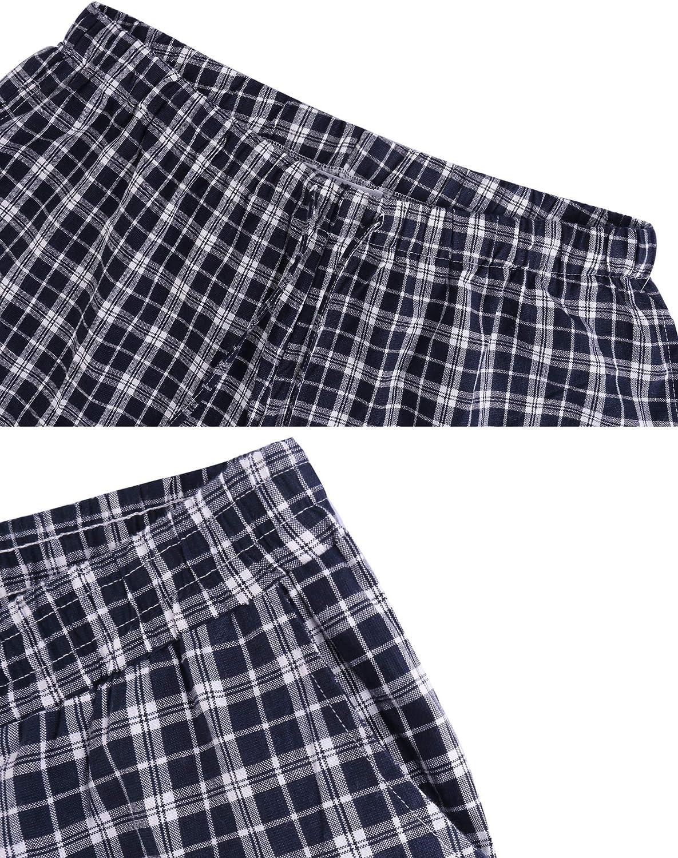 Aibrou Pantaloni da Uomo a Quadretti in Cotone al 100/% con Tasche Pantaloni Sportivi per Corsa Sport Pigiama Pantaloni Lunghi
