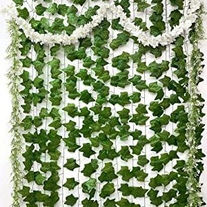 WAKISAKI (Aesthetic) 15-Pack Artificial Fake Vines Flowers Plants, 3-in-1 Bundle Decor for Room Wall Bedroom Office Wedding Event Party, Total Length of 107 Feet