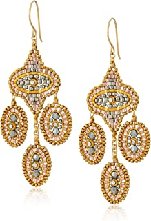 product image for Miguel Ases Medium Mixed Metal Oval Swarovski Chandelier Earrings