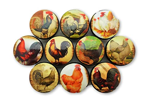 Set of 10 Rooster Cabinet Knobs - - Amazon.com