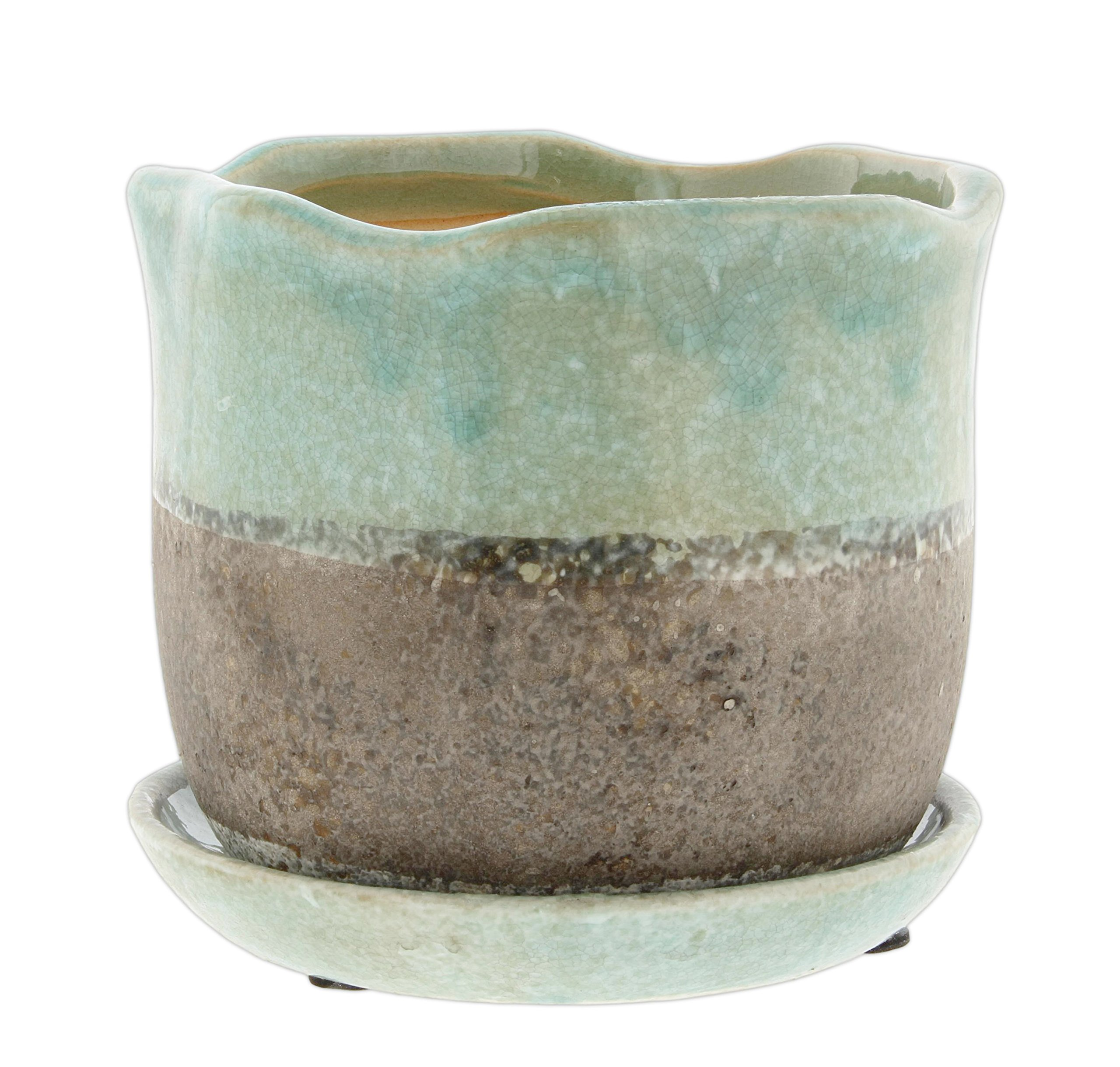 Lucky Winner 5'' Scallop Edged Ceramic Planter with Attached Saucer (Turquoise)