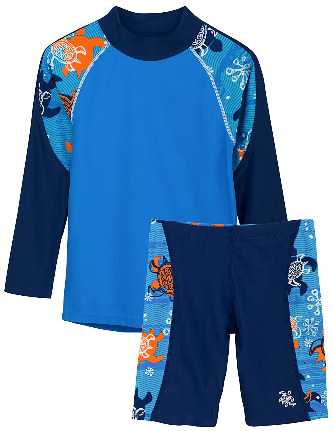 UPF 50 Protection Tuga Boys Two Piece Long Sleeve Swimsuit Set 2-14 Years