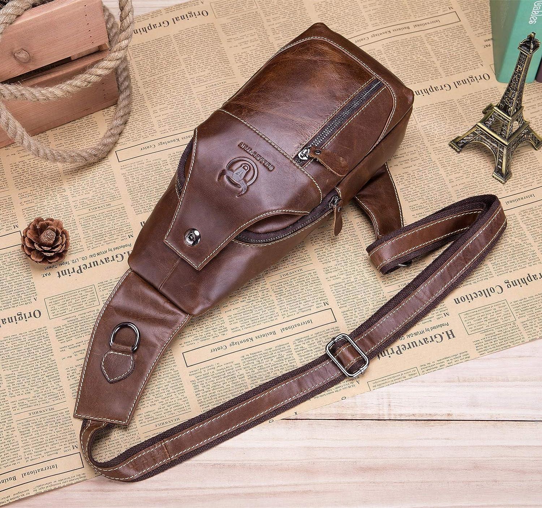 Genuine Leather Sling Crossbody Bag for Men Shoulder Chest Bag Casual Travel Hiking Daypacks