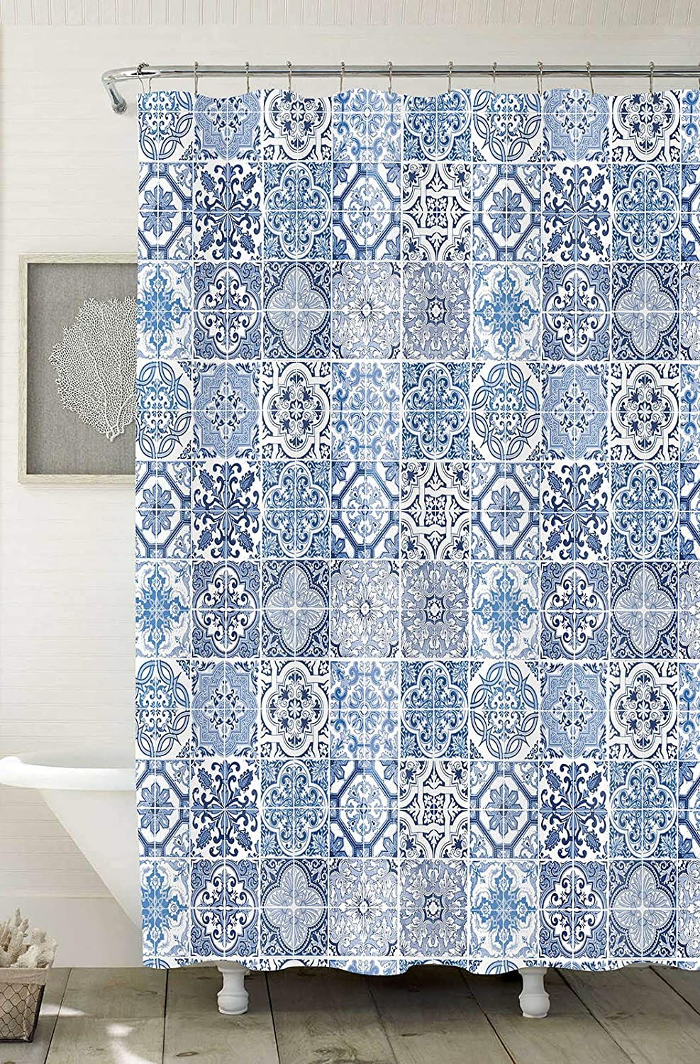 """Home Expressions Durable Waterproof Peva Shower Curtain 70""""x72"""" Italian Tiles Design"""