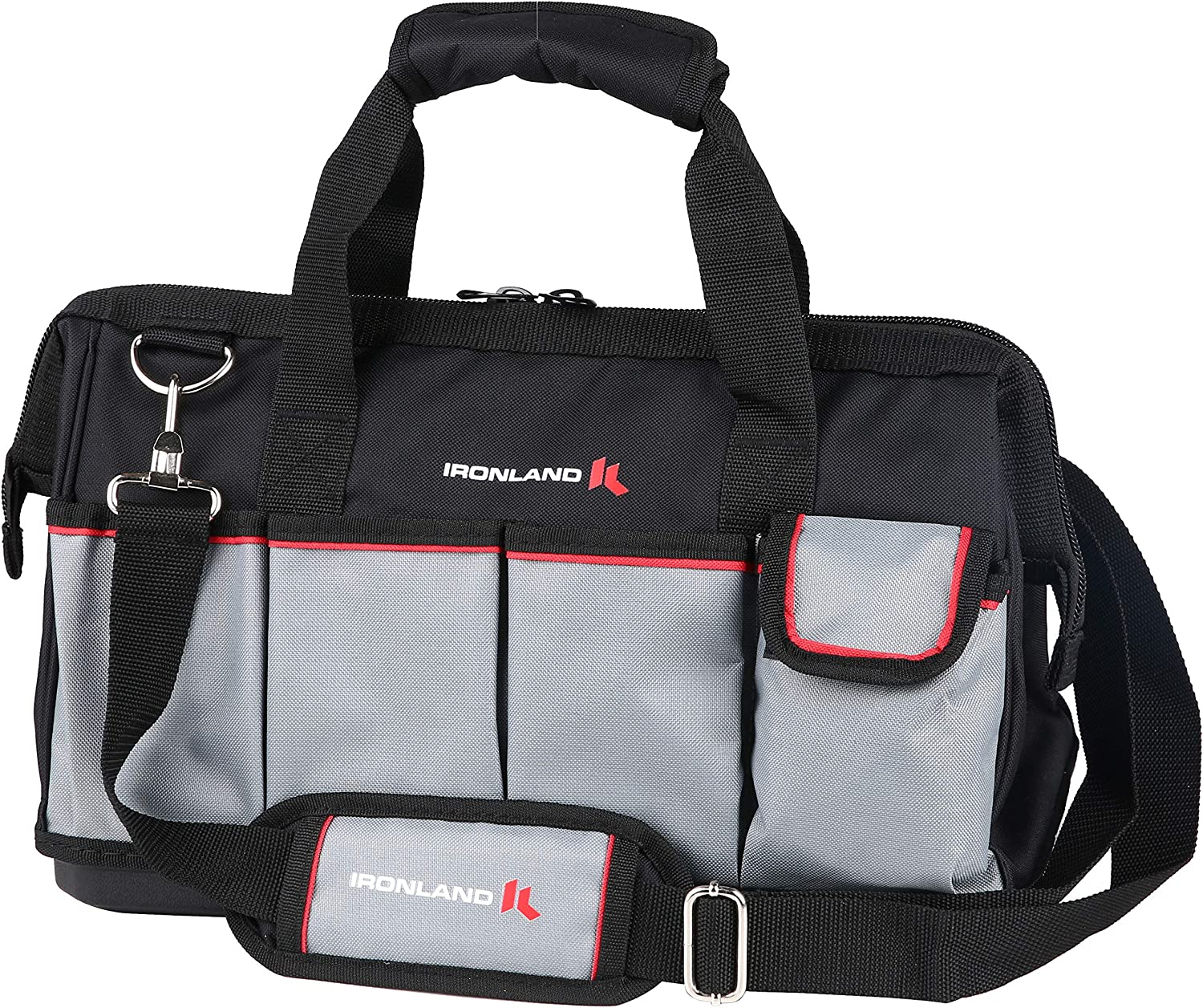 Tool Bag Wide Mouth with Multi-Compartment Pockets, Organizer Bag with Adjustable Shoulder Strap (16'')