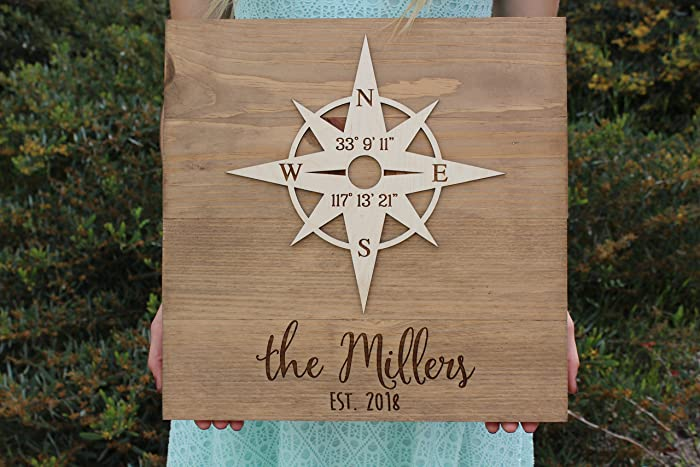 Amazoncom Personalized Wood Sign With Compass Rose Names And