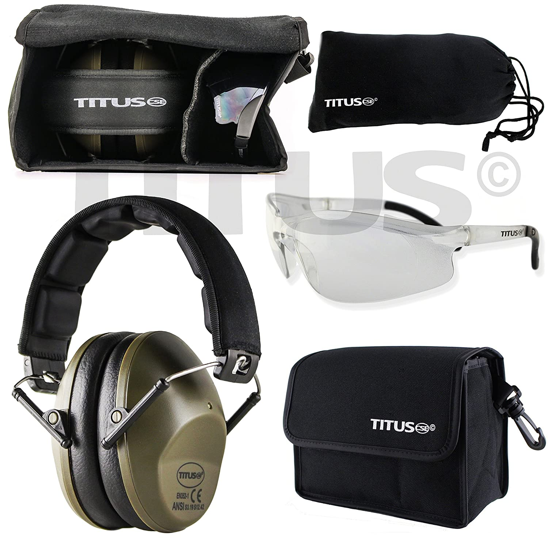 Titus 34db安全Earmuff &眼鏡コンボ Olive M2G5T-WLP G5 Clear w/ Sports Frame Olive OliveG5 Clear w/ Sports Frame B01I4CC2YC