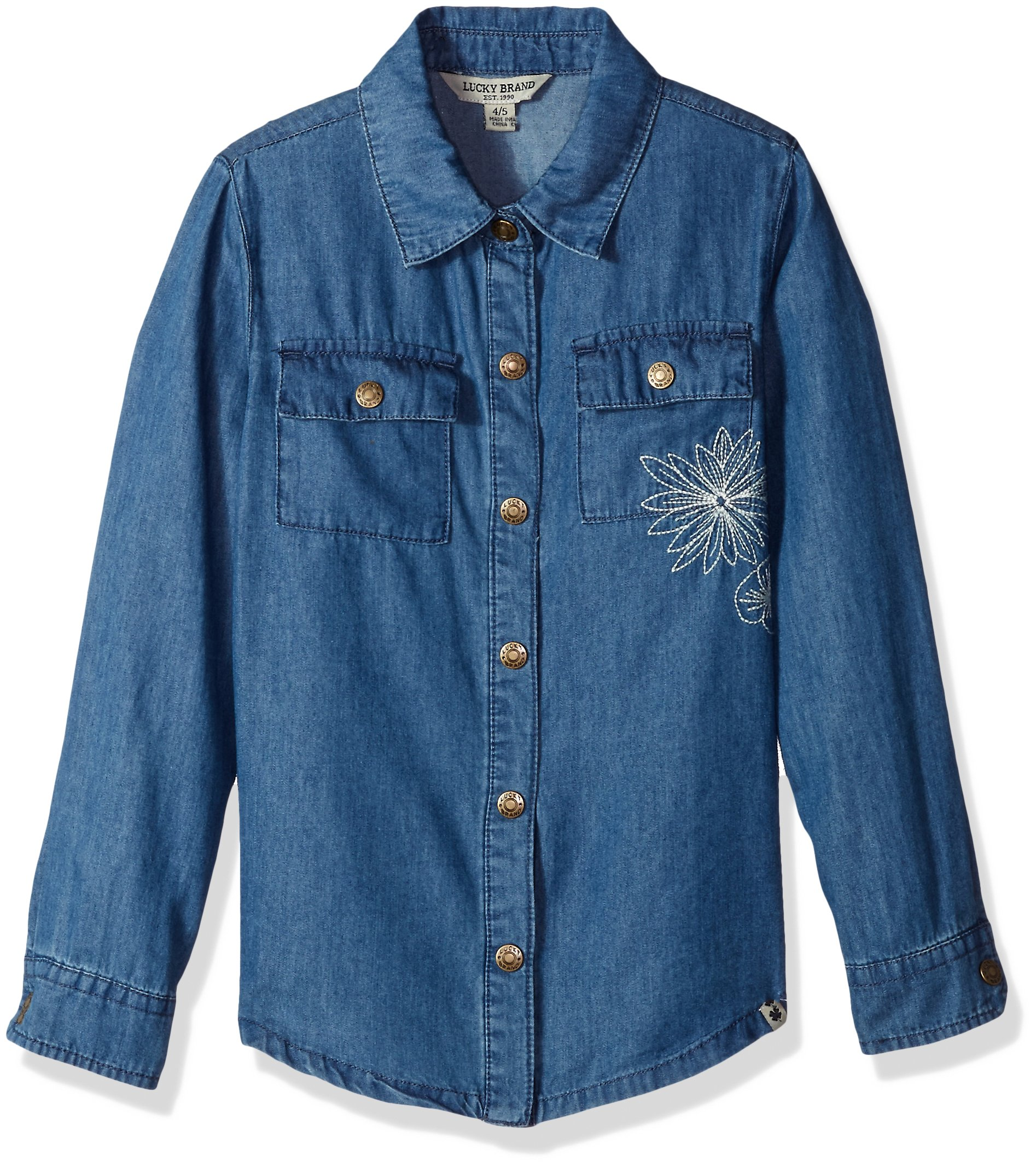 Lucky Brand Big Girls' Chambray Shirt, Chloe Lucy Wash, Medium (8/10)