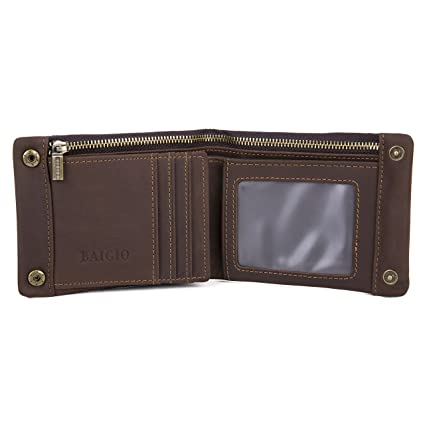 98e0319c75df BAIGIO Mens Designer Leather Wallet Card Case Soft Calfskin Zipper Change  Pouch Portable Bi-fold Purse (Dark Brown): Amazon.co.uk: Luggage