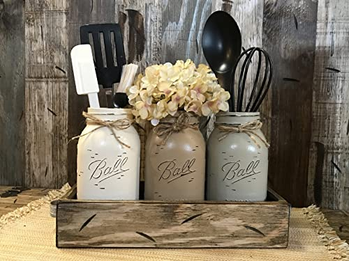 Mason Canning Jar Utensil Holder Kitchen Table Centerpiece 3 Hand Painted  Ball QUART Jars in Distressed Wood Antique White Red Blue Tray handles ...
