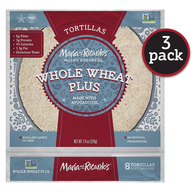 Maria & Ricardo's Whole Wheat Plus Tortillas. (3 Pack) 4 Net Carbs, High Fiber, 3g Protein. Low Carb Tortillas. Non GMO PV, Vegan. Kosher.