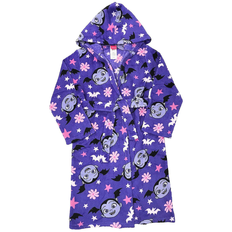 Girls Purple Vampirina Plush Bathrobe /& 2 pc Fleece Pajama Set