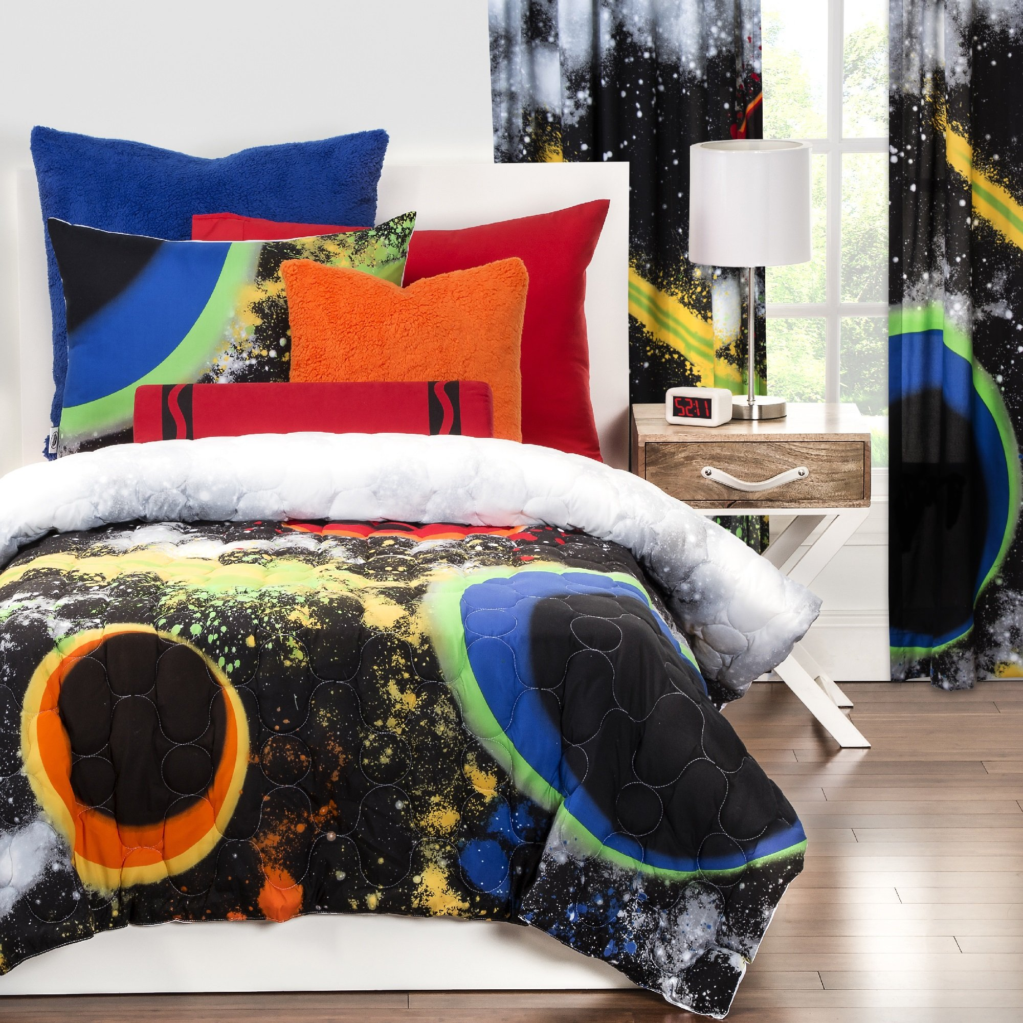 3 Piece Watercolor Like Outerspace Patterned Comforter Set Full/Queen Size, Printed Vibrant Color Splash Milky Way Geometric Rings Bedding, Stylish Modern Design, Classic Kids Bedroom, Black, Yellow