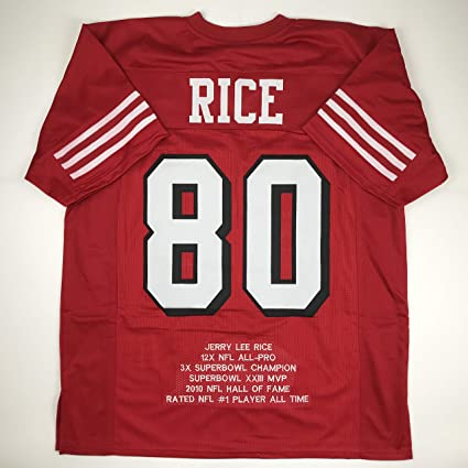 2c1325f96 Unsigned Jerry Rice San Francisco Alternate Red Stat Custom Stitched  Football Jersey Size Men s XL New