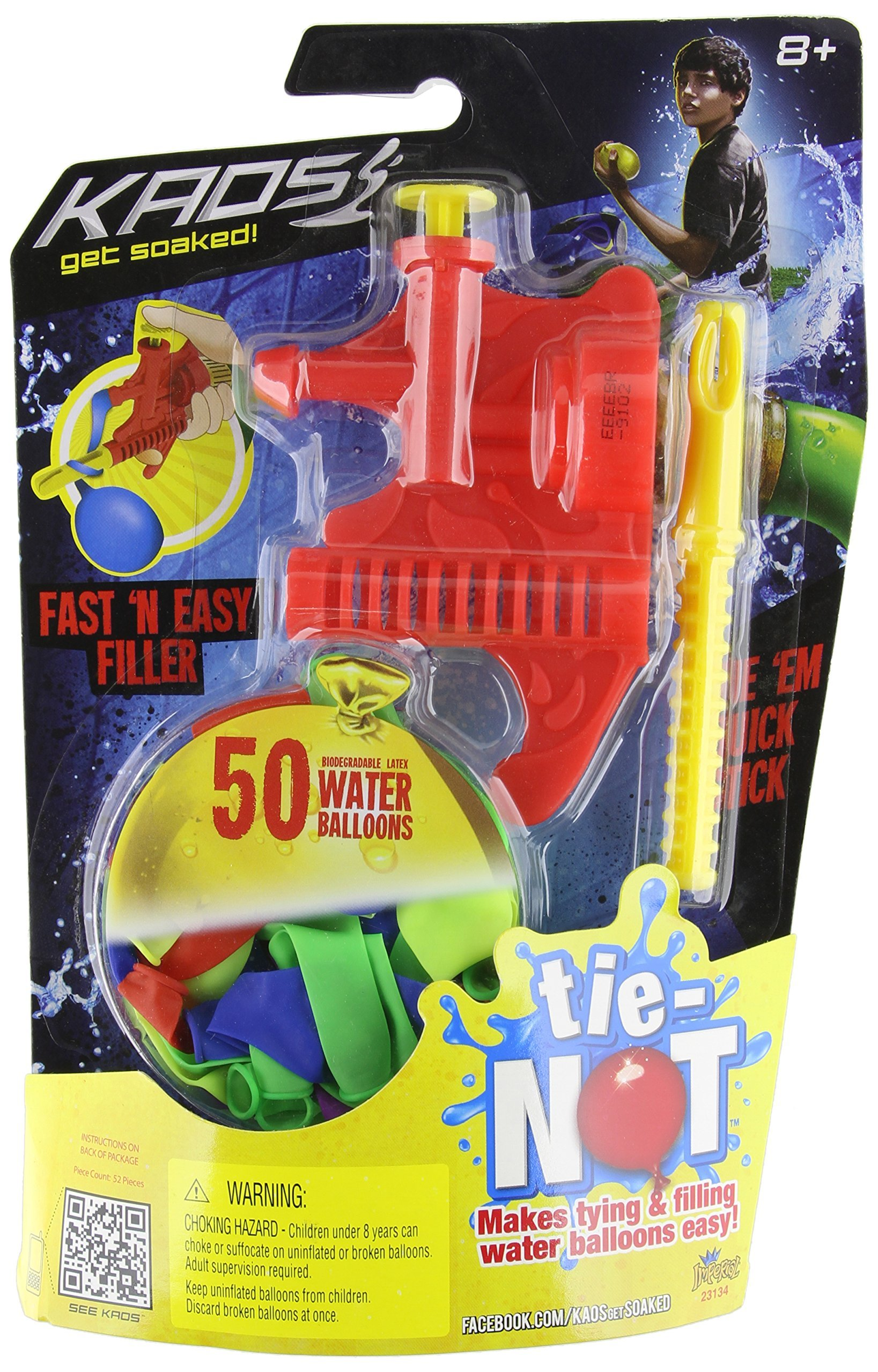 Tie-Not Biodegradable Water Balloon Filling Set, Color may vary