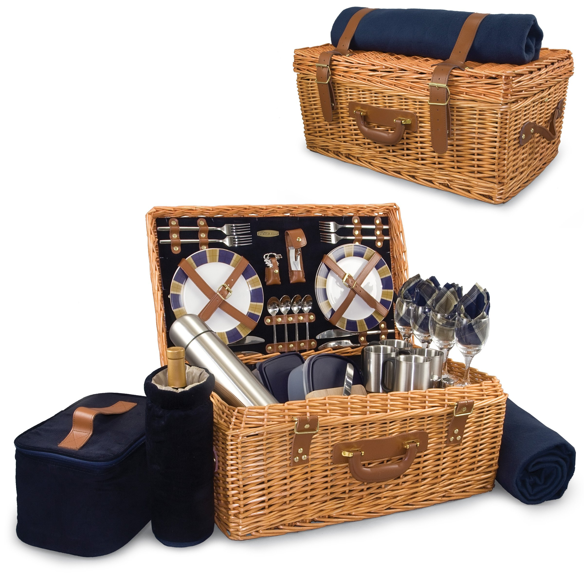 Picnic Time Windsor English-Style Willow Picnic Basket with Deluxe Service for 4 by PICNIC TIME