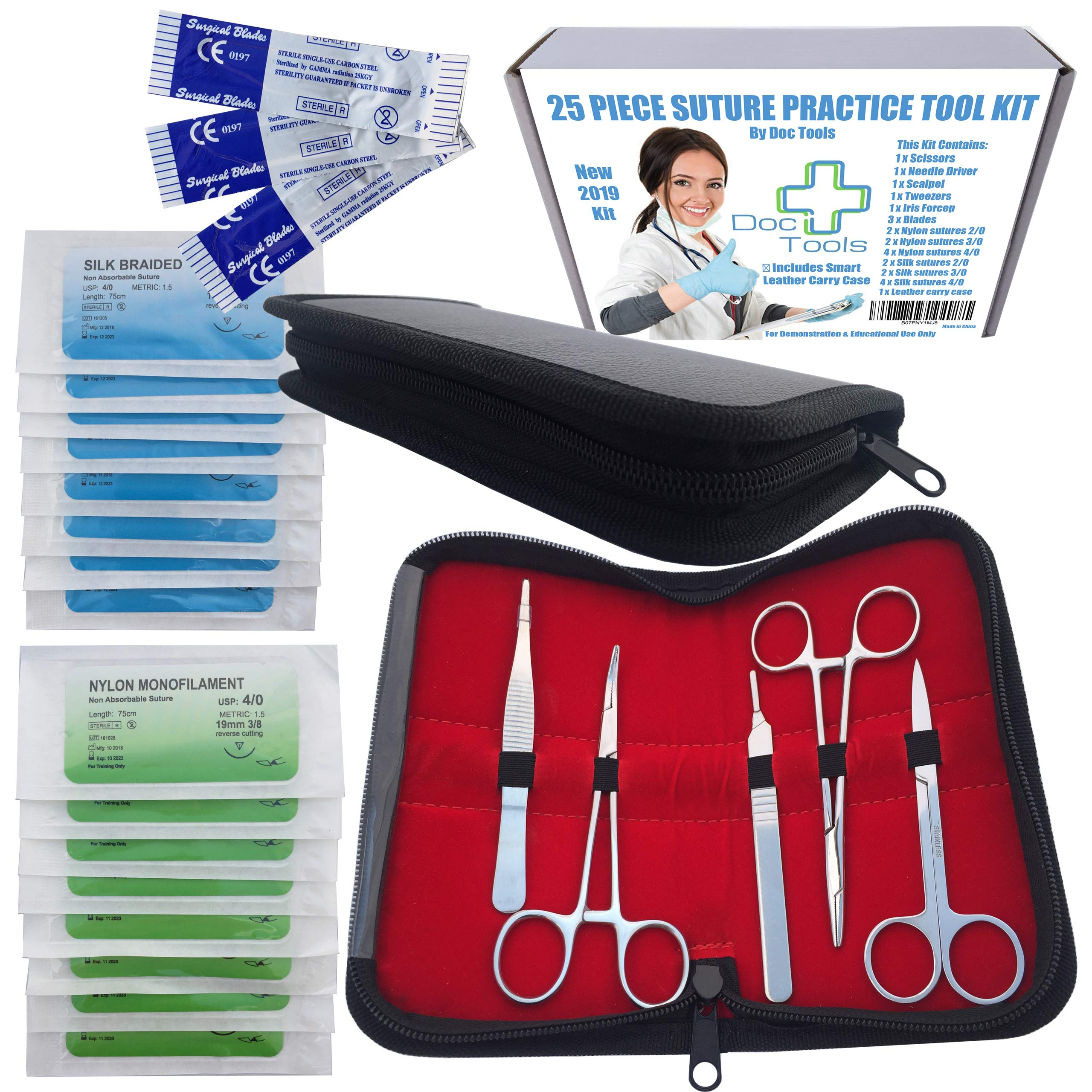 25 Piece Stainless Steel Suture Pad Practice Tool Kit - by Doc Tools | for Suture Training Medical Students Nurses Doctors Vets Education Comes in Smart Leather Case by Doc Tools