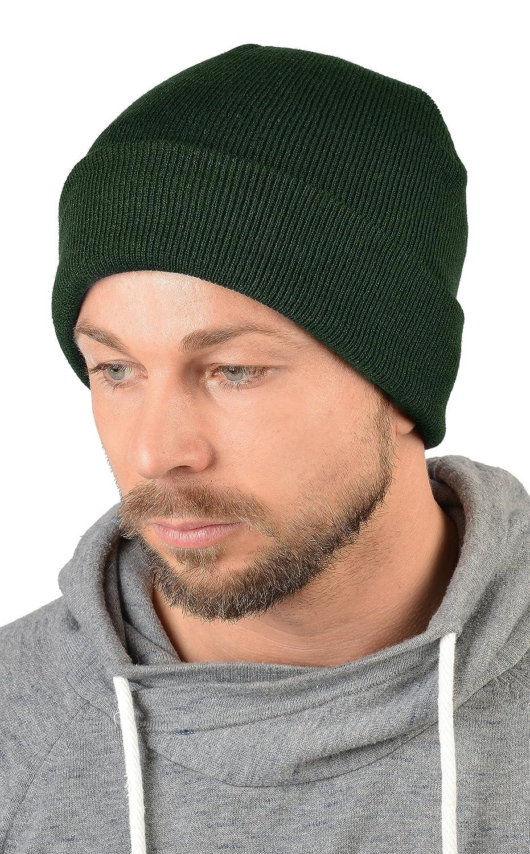 Herren Strickmütze, Wintermütze in waldgrün, Skimütze - doppellagig gestrickt