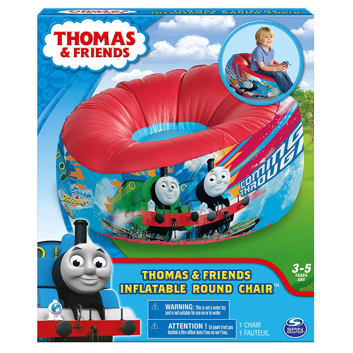 Amazon.com: Marshmallow Furniture   Inflatable Round Chair   Thomas U0026  Friends   Blue/Red: Toys U0026 Games