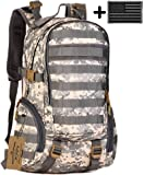 ArcEnCiel 25L Camping Bags Water-Resistant Molle Backpack Military 3P Gym School Trekking Ripstop Woodland Tactical Gear for Men with Patch