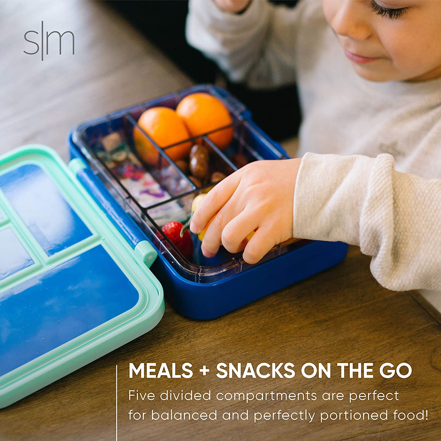 Men Leakproof Divided Container with 5 compartments for Toddlers and Women -Winter White Simple Modern Porter Bento Lunch Box for Kids