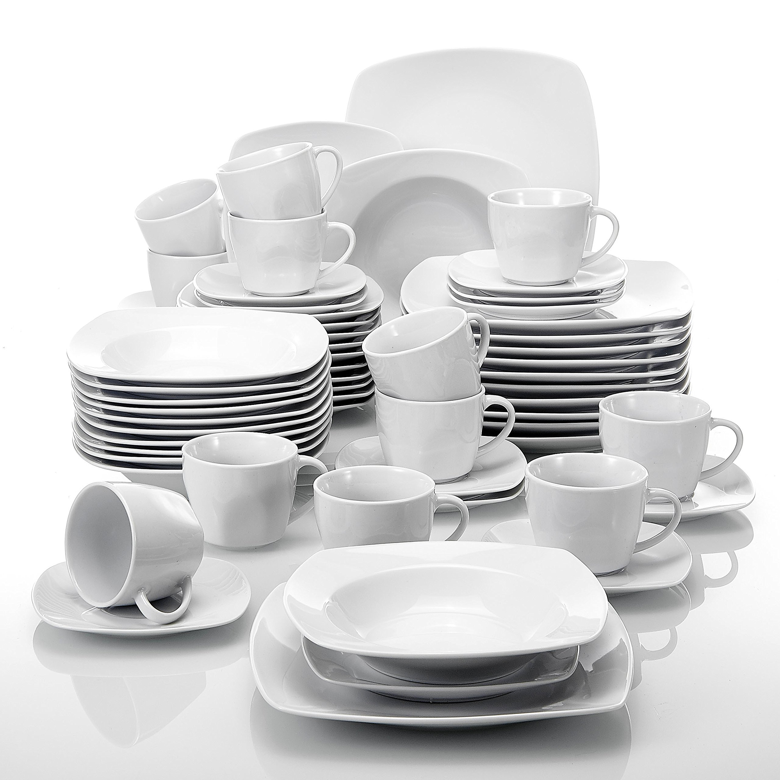 Malacasa, Series Julia, 60-Piece Ivory White Porcelain Tabletop Dinnerware Sets of 12-Piece Cups, 12-Piece Saucers, 12-Piece Dessert Plates, 12-Piece Soup Plates and 12-Piece Dinner Plates