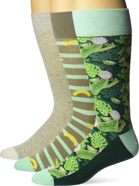 Amazon Brand - 28 Palms Men's 3-Pack Cotton Tropical Hawaiian Print Crew Socks