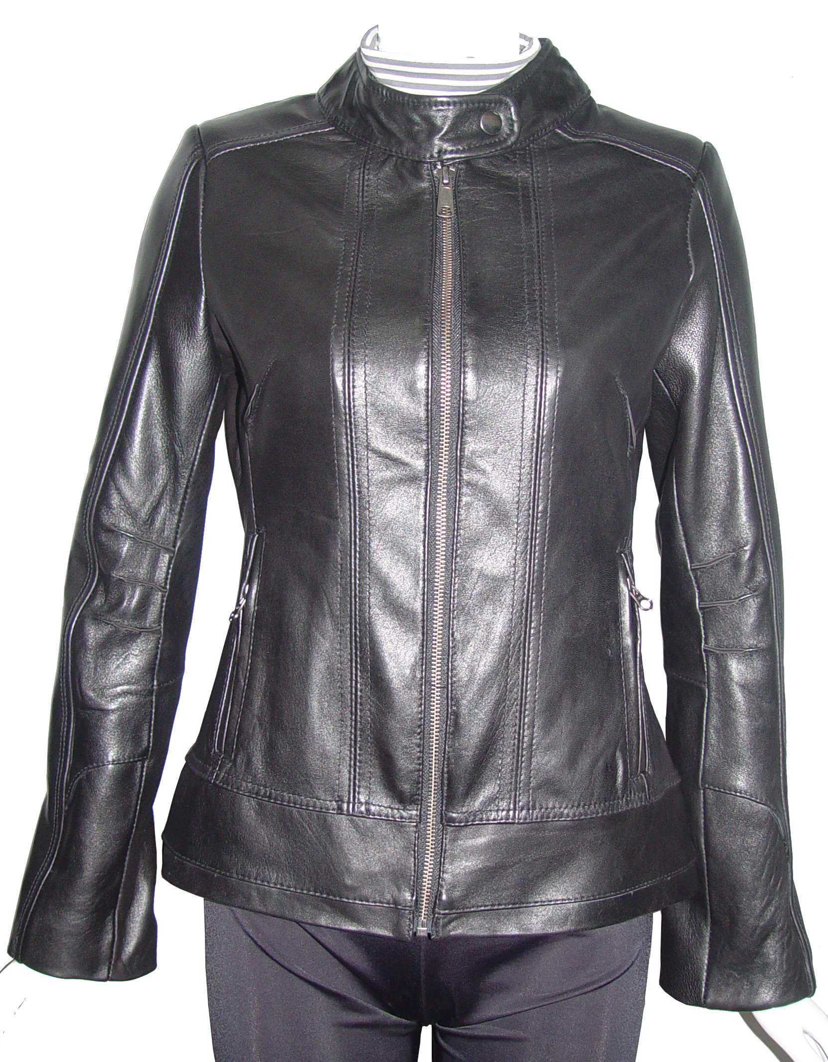 Paccilo Women Larger PLUS & ALL SIZE 4132 Leather Motorcycle Jacket Silky Lining