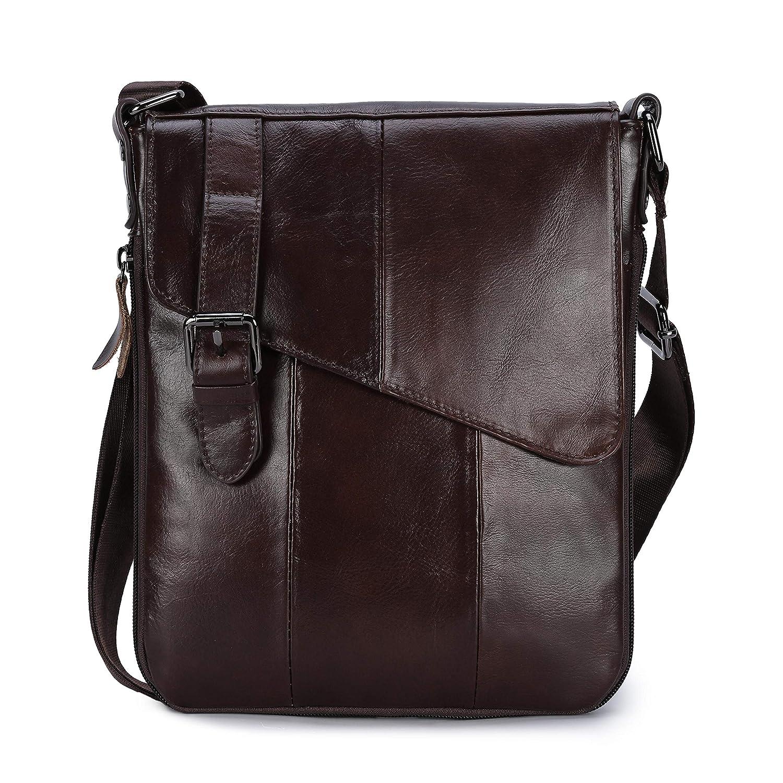 BAGTECH Mens Genuine Leather Bag Vintage Shoulder Bag Small Messenger Business Crossbody Bags Adjustable School Satchel (Black)